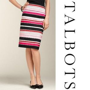 NWT Talbots Pencil Skirt Black White Ribbon Stripe
